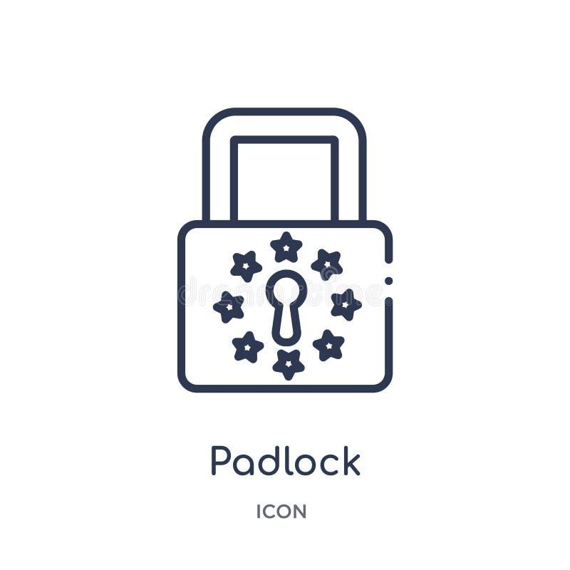 Liniowa kłódki ikona od Gdpr konturu kolekcji Cienieje kreskową kłódki ikonę odizolowywającą na białym tle kłódki modna ilustracj ilustracji