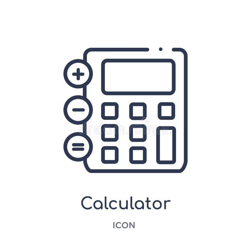 Liniowa kalkulator ikona od Cyfrowej gospodarki konturu kolekcji Cienieje kreskowego kalkulatora wektor odizolowywającego na biał ilustracja wektor