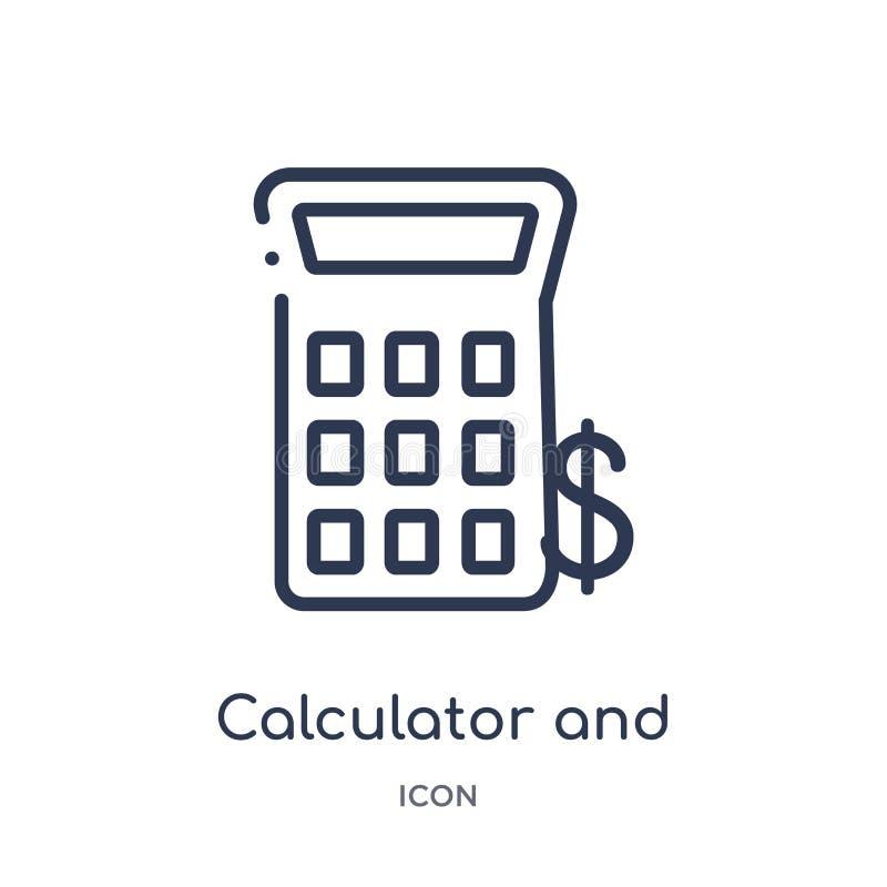 Liniowa kalkulatora i dolara ikona od edukacji zarysowywa kolekcję Cienieje kreskową kalkulatora i dolara ikonę odizolowywającą n ilustracja wektor