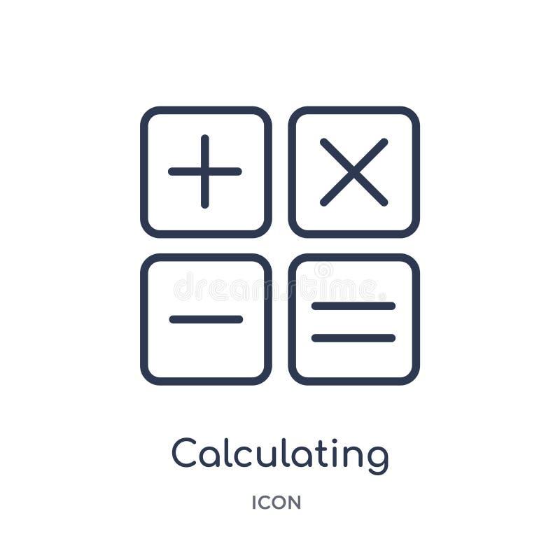 Liniowa kalkulatorska ikona od Elektronicznej materiał pełni konturu kolekcji Cienieje kreskowego kalkulatorskiego wektor odizolo ilustracja wektor