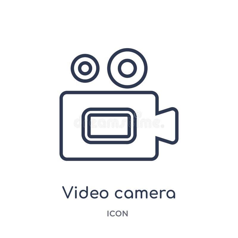 Liniowa kamera wideo ikona od Elektronicznej materiał pełni konturu kolekcji Cienieje kreskowego kamera wideo wektor odizolowywaj ilustracji