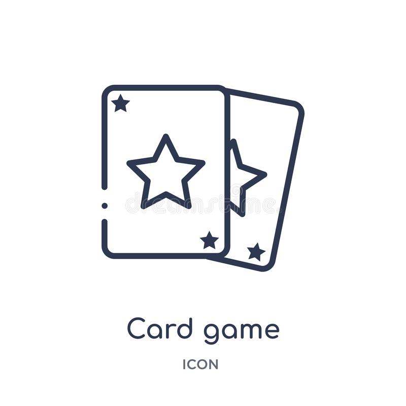 Liniowa karcianej gry ikona od rozrywka konturu kolekcji Cienkiego linecard gemowa ikona odizolowywająca na białym tle as karty c ilustracja wektor
