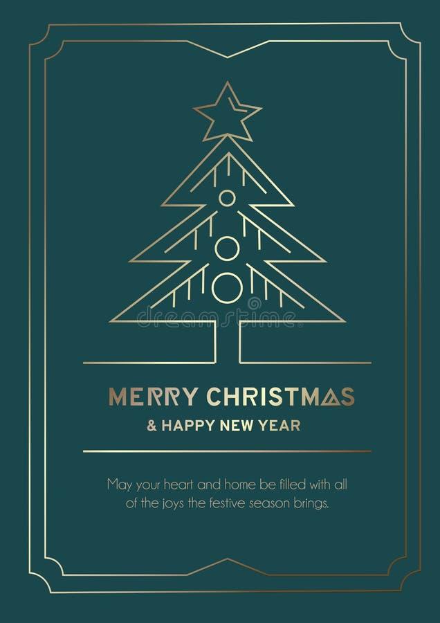 Liniowa kartka powitalna z retrospektywnym gwiazdką ze złotymi liniami i choinką Wesołych Świąt i Szczęśliwego Nowego Roku royalty ilustracja