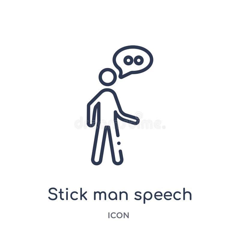 Liniowa kija mężczyzny mowy ikona od zachowanie konturu kolekcji Cienki kreskowy kija mężczyzny mowy wektor odizolowywający na bi royalty ilustracja