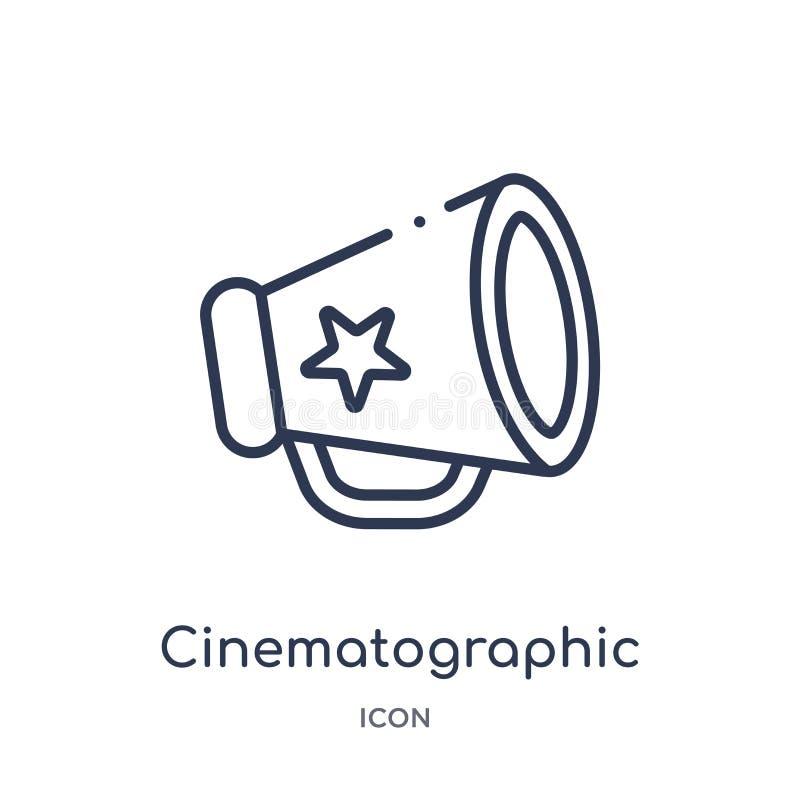 Liniowa kinematograficzna spiker ikona od Kinowej kontur kolekcji Cienieje kreskowego kinematograficznego spikera wektor odizolow royalty ilustracja