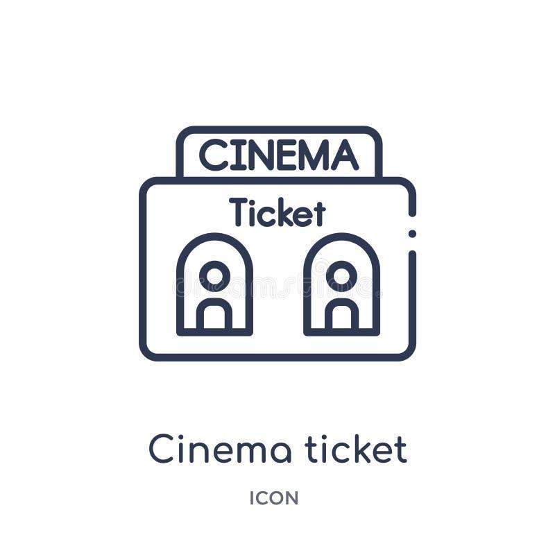 Liniowa kinowa biletowego okno ikona od Kinowej kontur kolekcji Cienieje kreskowego kinowego biletowego okno wektor odizolowywają ilustracja wektor