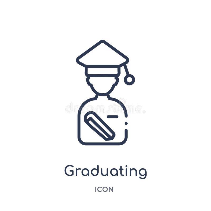 Liniowa kończy studia ikona od edukacja konturu kolekcji Cienieje kreskowego kończy studia wektor odizolowywającego na białym tle ilustracji
