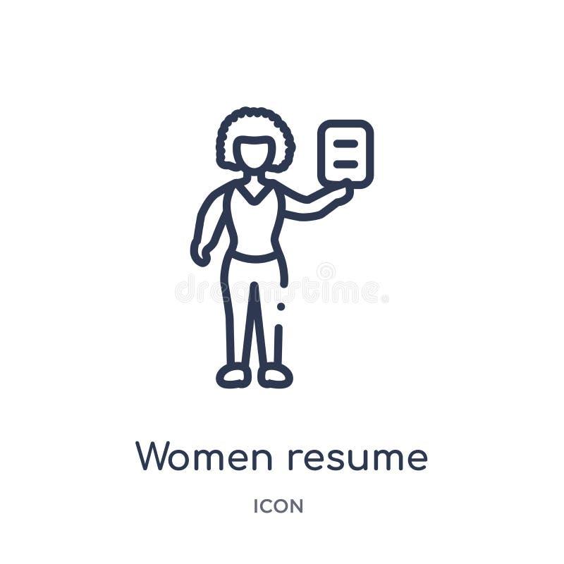 Liniowa kobieta życiorysu ikona od dam zarysowywa kolekcję Cienkie kreskowe kobiety wznawiają ikonę odizolowywającą na białym tle ilustracji