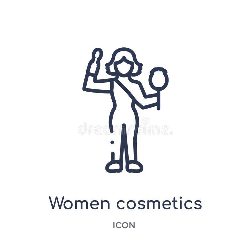Liniowa kobieta kosmetyków ikona od dam zarysowywa kolekcję Cienieje kreskową kobieta kosmetyków ikonę odizolowywającą na białym  ilustracji