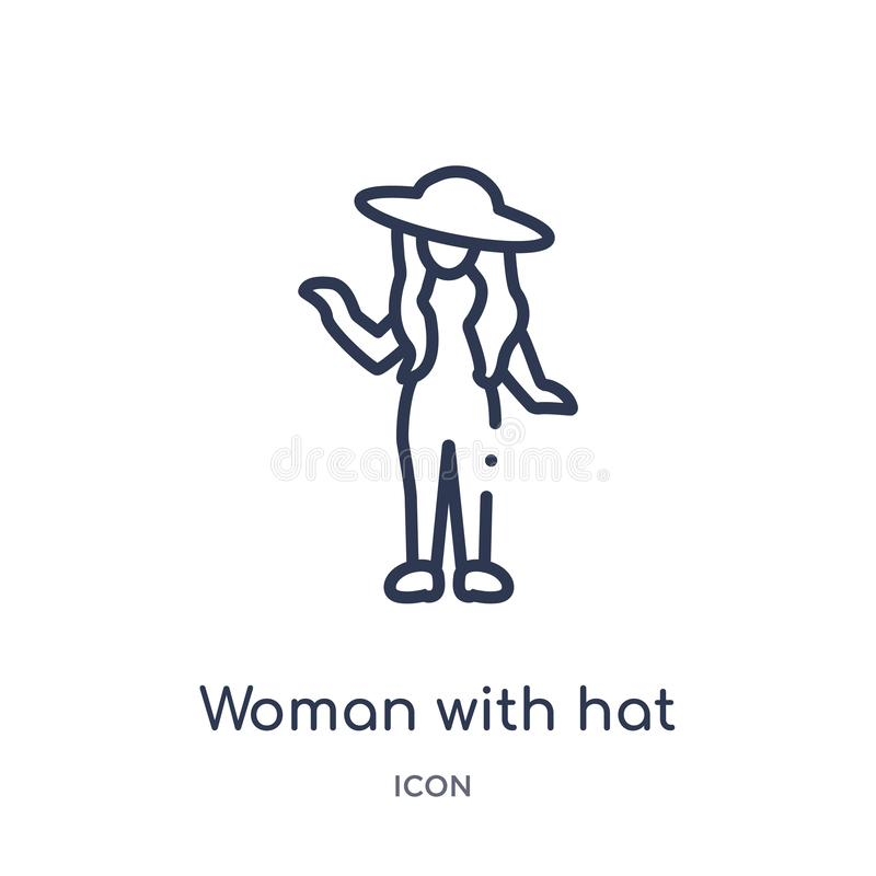 Liniowa kobieta z kapeluszową ikoną od dam zarysowywa kolekcję Cienieje kreskowej kobiety z kapeluszową ikoną odizolowywającą na  royalty ilustracja