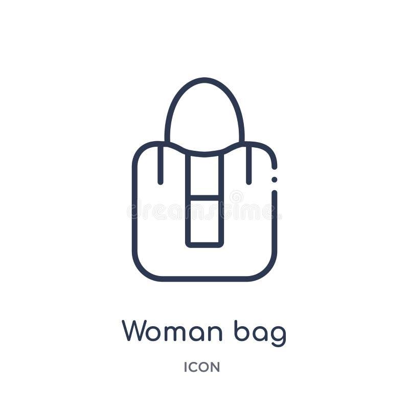 Liniowa kobiety torby ikona od moda konturu kolekcji Cienka kreskowa kobiety torby ikona odizolowywająca na białym tle kobiety to royalty ilustracja