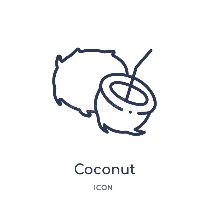 Liniowa kokosowa ikona od owoc konturu kolekcji Cienieje kreskową kokosową ikonę odizolowywającą na białym tle koks modny ilustracji
