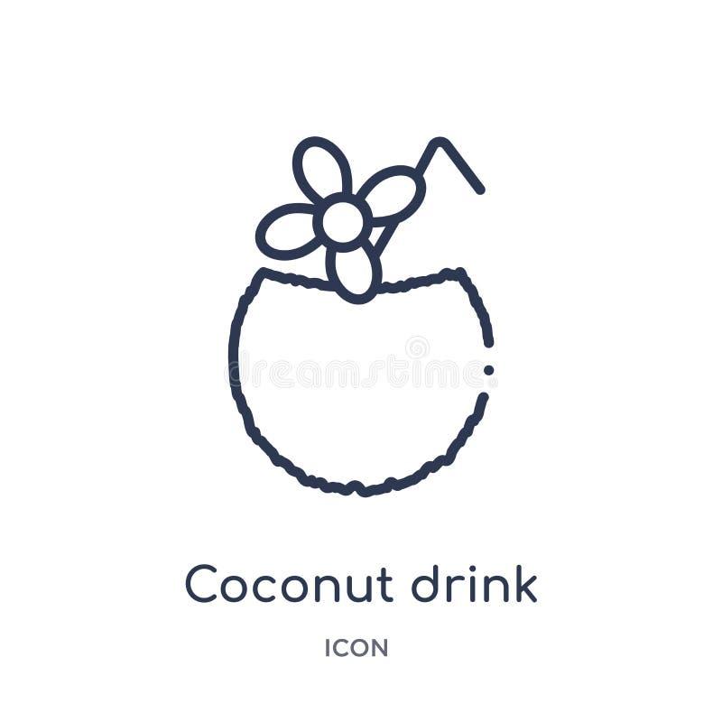 Liniowa kokosowa napój ikona od napojów zarysowywa kolekcję Cienki kreskowy kokosowy napoju wektor odizolowywający na białym tle  ilustracji