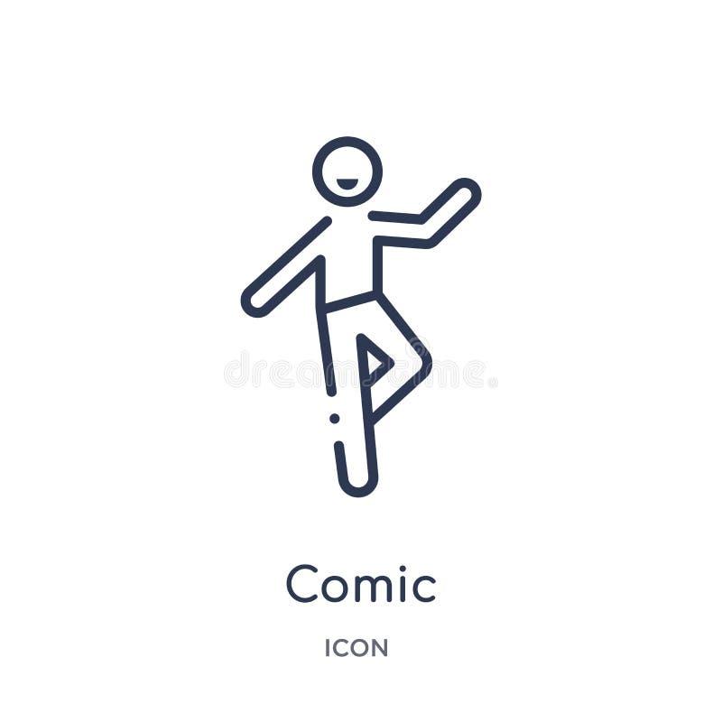 Liniowa komiczna ikona od aktywności i hobby zarysowywamy kolekcję Cienieje kreskowego komicznego wektor odizolowywającego na bia ilustracja wektor