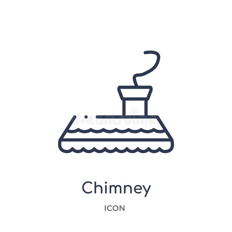 Liniowa kominowa ikona od Meblarskiej kontur kolekcji Cienieje kreskową kominową ikonę odizolowywającą na białym tle komin modny ilustracja wektor