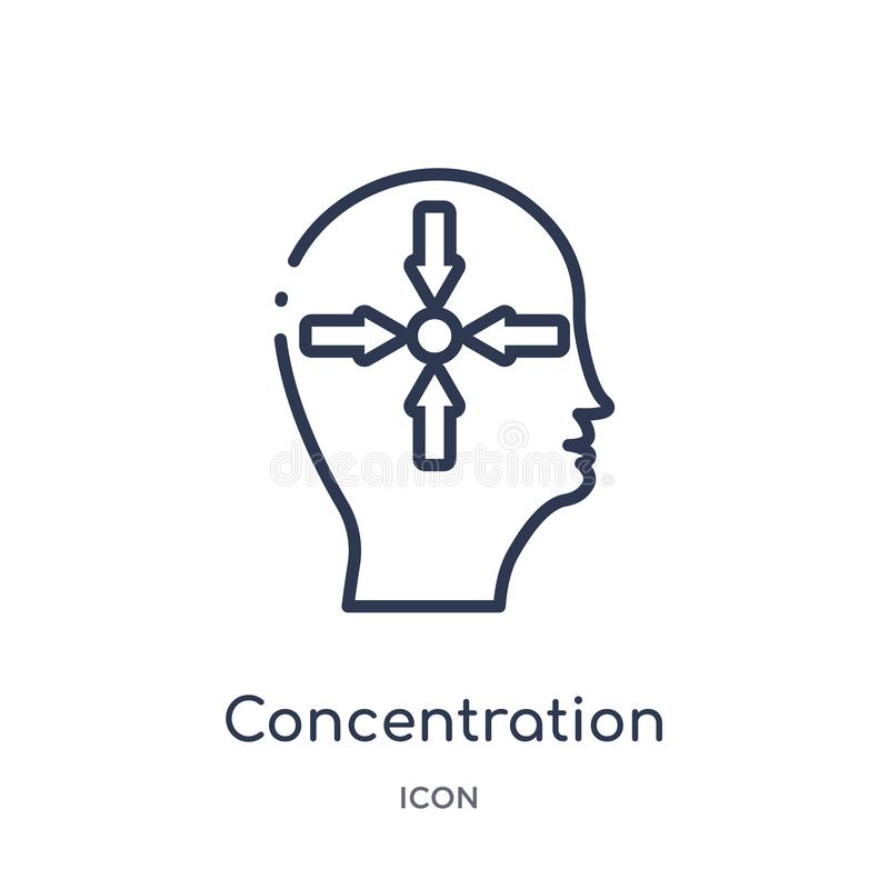 Liniowa koncentracyjna ikona od mózg procesu konturu kolekcji Cienieje kreskowej koncentracji wektor odizolowywającego na białym  ilustracji