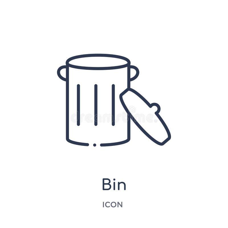 Liniowa kosz ikona od przemysłu konturu kolekcji Cienieje kreskową kosz ikonę odizolowywającą na białym tle kosz modna ilustracja ilustracja wektor