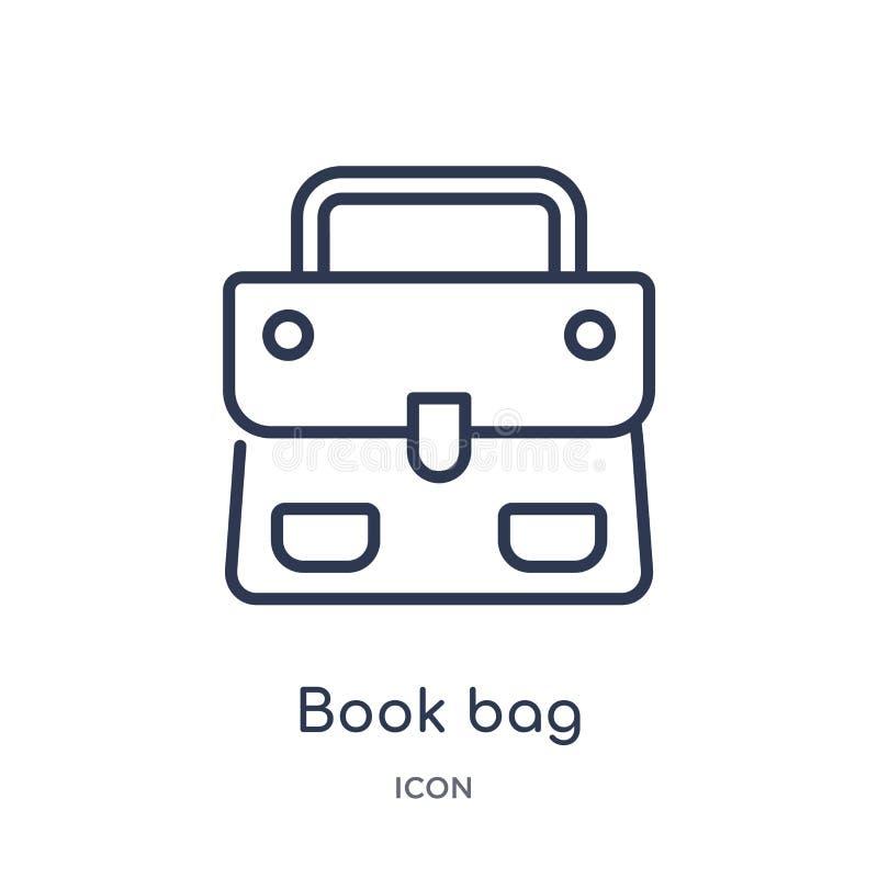 Liniowa książkowej torby ikona od moda konturu kolekcji Cienieje kreskową książkowej torby ikonę odizolowywającą na białym tle ks ilustracji