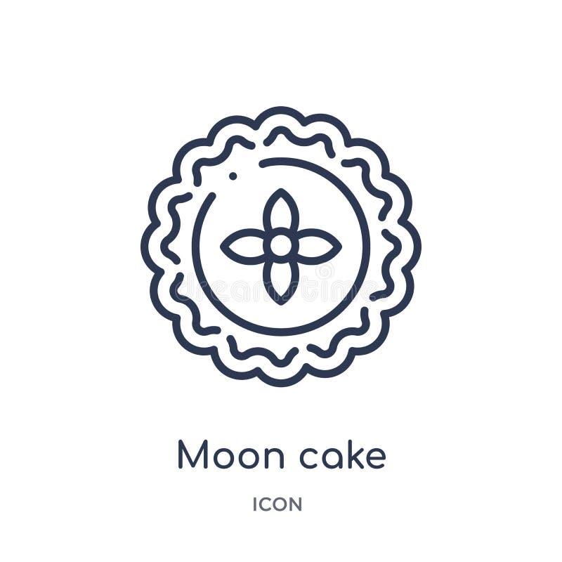 Liniowa księżyc torta ikona od jedzenia i restauracyjnej kontur kolekcji Cienka kreskowa księżyc torta ikona odizolowywająca na b ilustracji