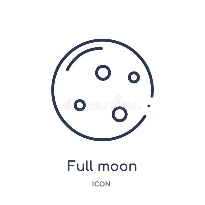 Liniowa księżyc w pełni ikona od India i holi zarysowywamy kolekcję Cienieje kreskową księżyc w pełni ikonę odizolowywającą na bi ilustracji