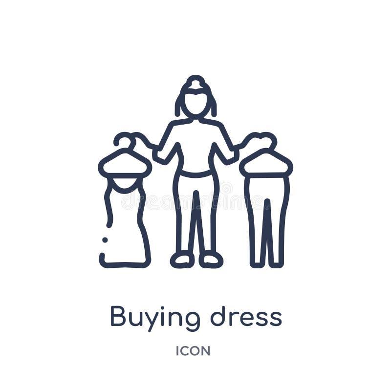 Liniowa kupienie sukni ikona od dam zarysowywa kolekcję Cienka kreskowa kupienie sukni ikona odizolowywająca na białym tle Kupowa ilustracji