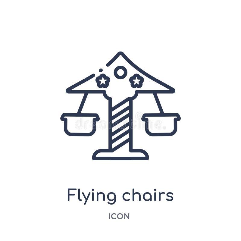 Liniowa latań krzeseł ikona od Cyrkowej kontur kolekcji Cienki kreskowy latanie przewodniczy wektor odizolowywającego na białym t ilustracji
