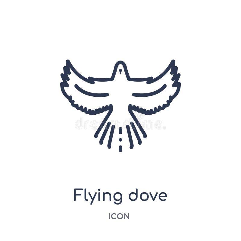 Liniowa latanie gołąbki ikona od zwierząt i przyroda zarysowywamy kolekcję Cienieje kreskowego latanie gołąbki wektor odizolowywa ilustracja wektor