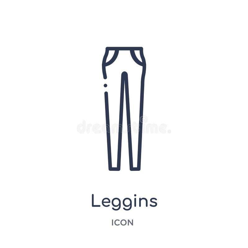 Liniowa leggins ikona od ubrania konturu kolekcji Cienieje kreskowego leggins wektor odizolowywającego na białym tle leggins modn ilustracja wektor