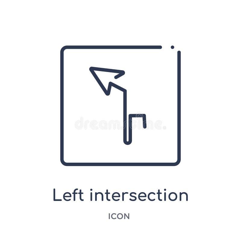 Liniowa lewa skrzyżowanie ikona od map i flagi zarysowywamy kolekcję Cienieje kreskową lewą skrzyżowanie ikonę odizolowywającą na royalty ilustracja