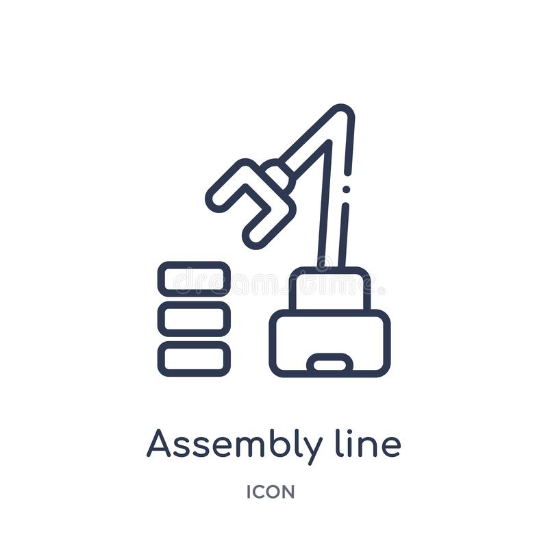 Liniowa linii montażowej ikona od przemysłu konturu kolekcji Cienieje kreskową linii montażowej ikonę odizolowywającą na białym t ilustracji