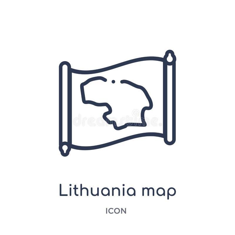 Liniowa Lithuania mapy ikona od Countrymaps konturu kolekcji Cienki kreskowy Lithuania mapy wektor odizolowywający na białym tle royalty ilustracja