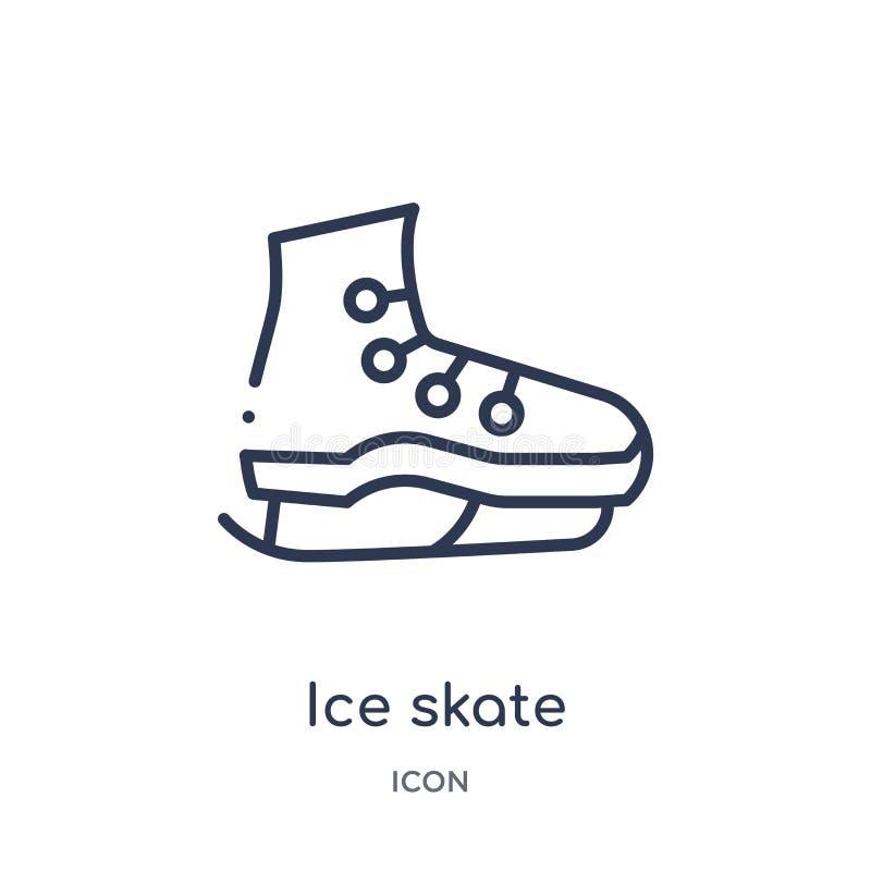 Liniowa lodowej łyżwy ikona od Hokejowej kontur kolekcji Cienieje kreskową lodowej łyżwy ikonę odizolowywającą na białym tle lodo ilustracji