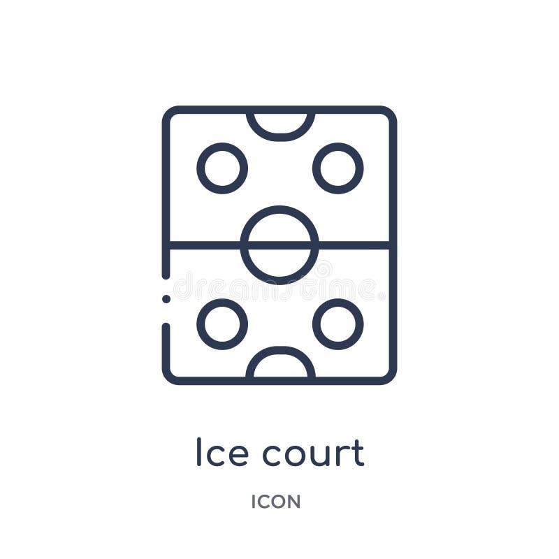 Liniowa lodu sądu ikona od Hokejowej kontur kolekcji Cienka linia lodu sądu ikona odizolowywająca na białym tle lodowy dworski mo royalty ilustracja