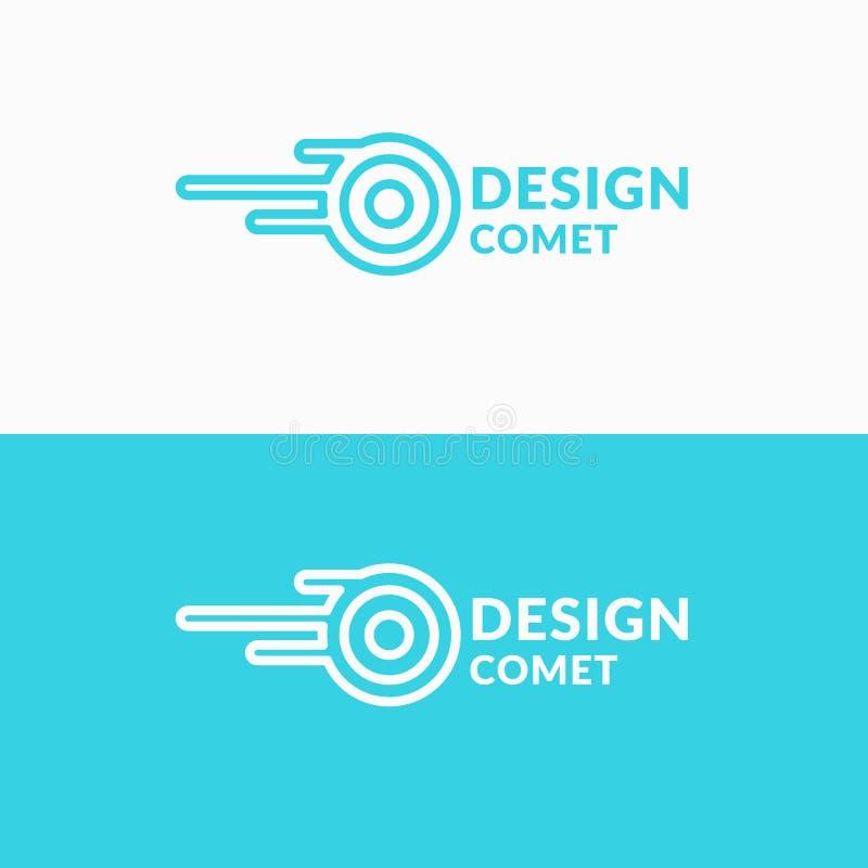 Liniowa logo kometa Znak dla transport firmy royalty ilustracja
