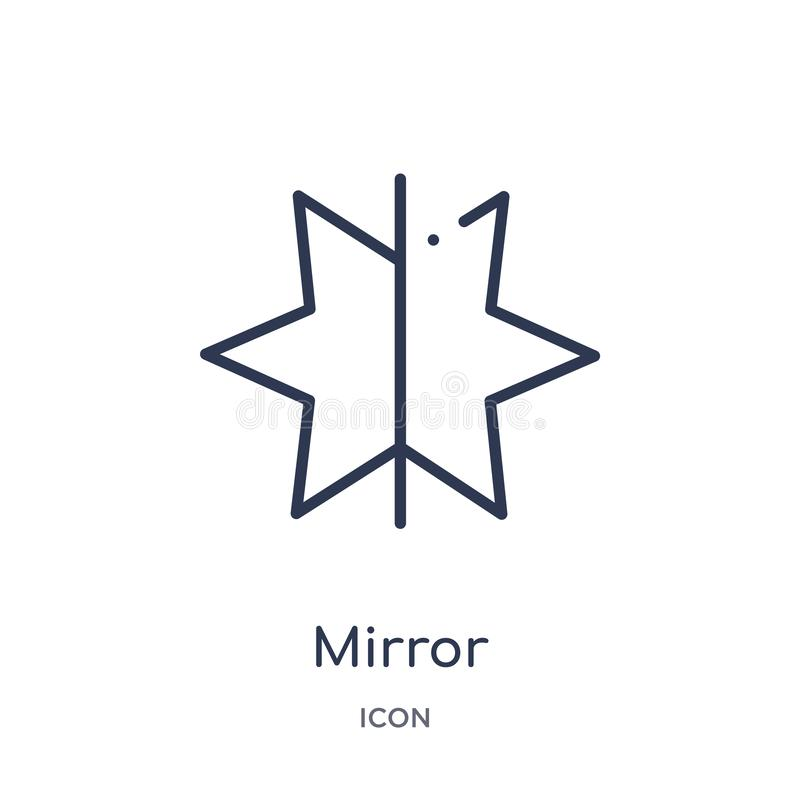 Liniowa lustra horizontally ikona od Geometrycznej postać konturu kolekcji Cienka linii lustra horizontally ikona odizolowywająca ilustracja wektor