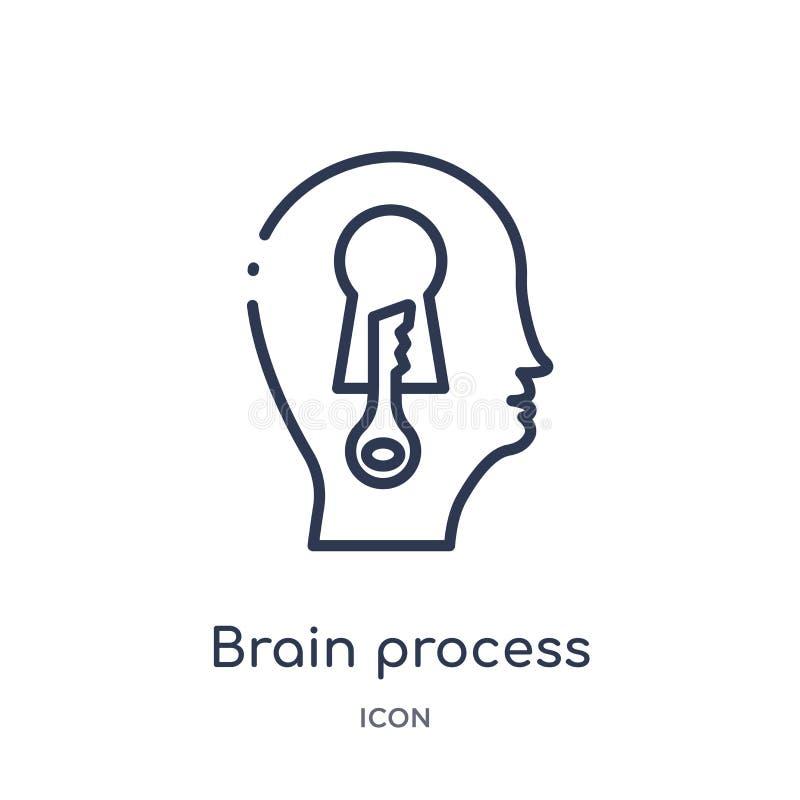 Liniowa mózg procesu ikona od mózg procesu konturu kolekcji Cienki kreskowy mózg procesu wektor odizolowywający na białym tle royalty ilustracja