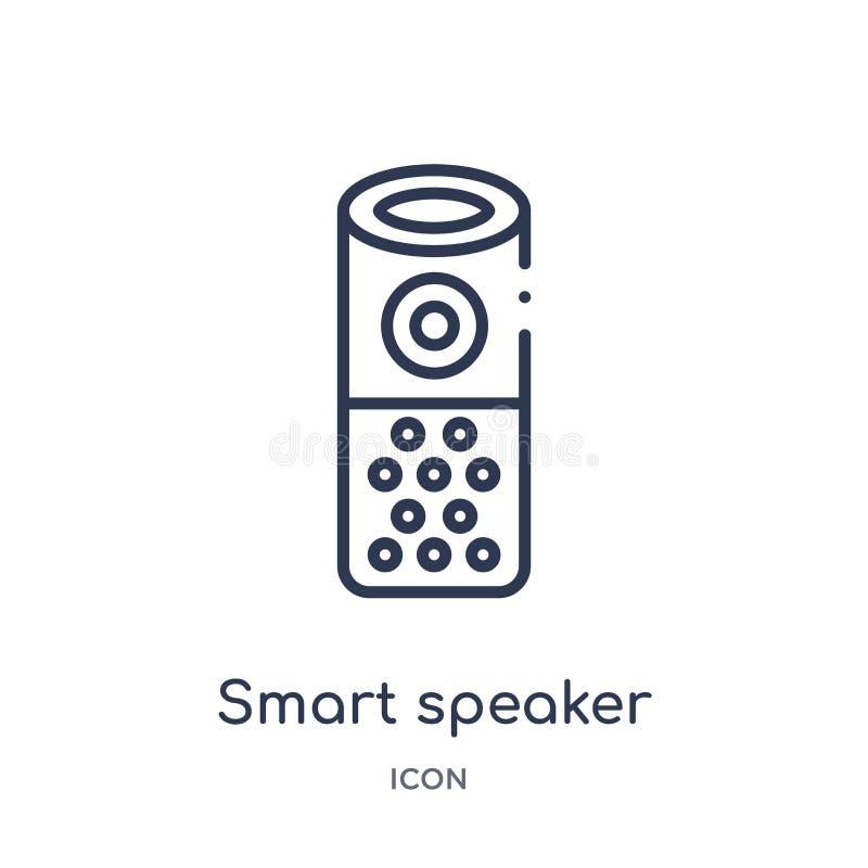 Liniowa mądrze głośnikowa ikona od Ogólnego konturu kolekcji Cienieje kreskową mądrze głośnikową ikonę odizolowywającą na białym  ilustracji