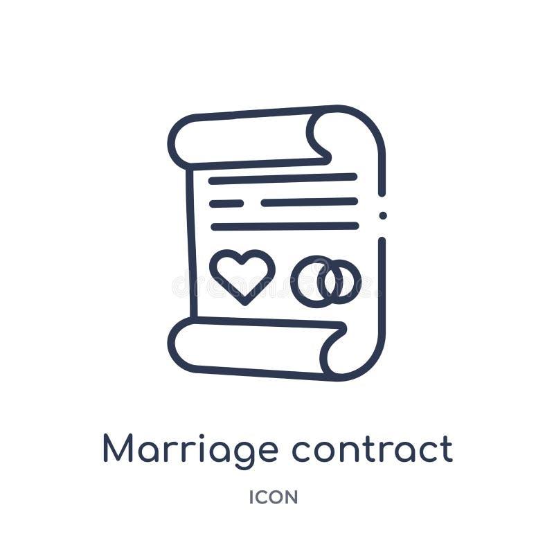 Liniowa małżeństwo kontrakta ikona od Asekuracyjnej kontur kolekcji Cienieje kreskową małżeństwo kontrakta ikonę odizolowywającą  ilustracja wektor