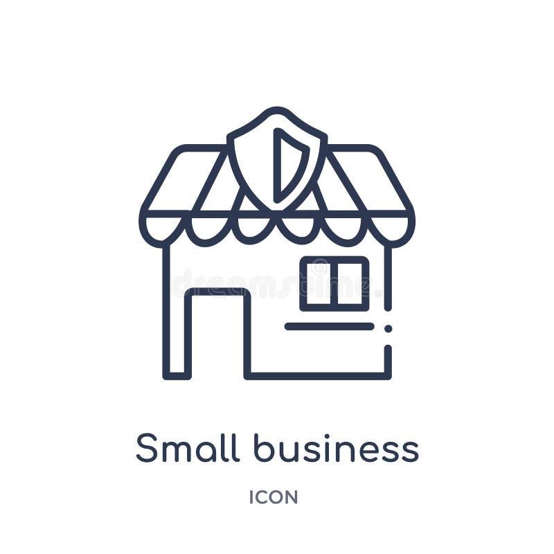Liniowa małego biznesu ubezpieczenia ikona od Asekuracyjnej kontur kolekcji Cienieje kreskową małego biznesu ubezpieczenia ikonę  ilustracja wektor
