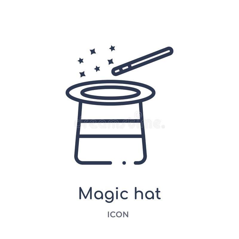 Liniowa magiczna kapeluszowa ikona od rozrywki i arkada zarysowywamy kolekcję Cienieje kreskowego magicznego kapeluszowego wektor royalty ilustracja