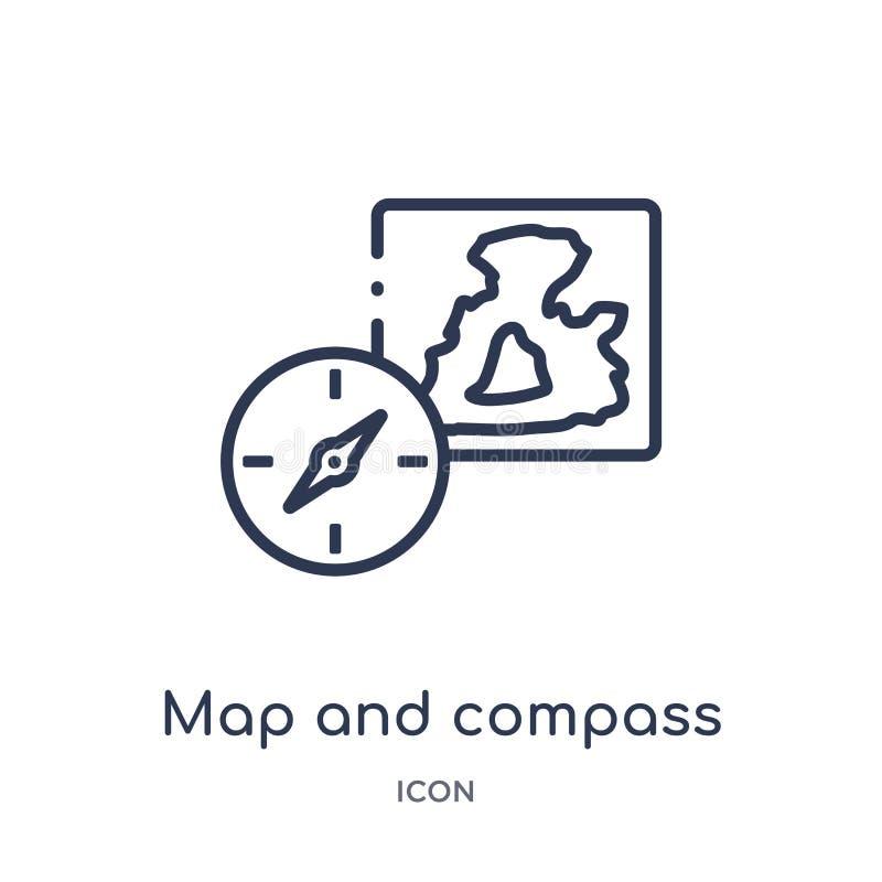 Liniowa mapy i kompasu orientacji narzędzi ikona od wojska zarysowywa kolekcję Cienka kreskowa mapy i kompasu orientacja wytłacza ilustracji
