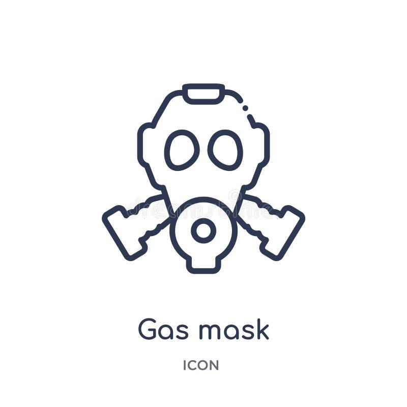 Liniowa maski gazowej ikona od wojska i wojennej kontur kolekcji Cienieje kreskowego maska gazowa wektor odizolowywającego na bia royalty ilustracja