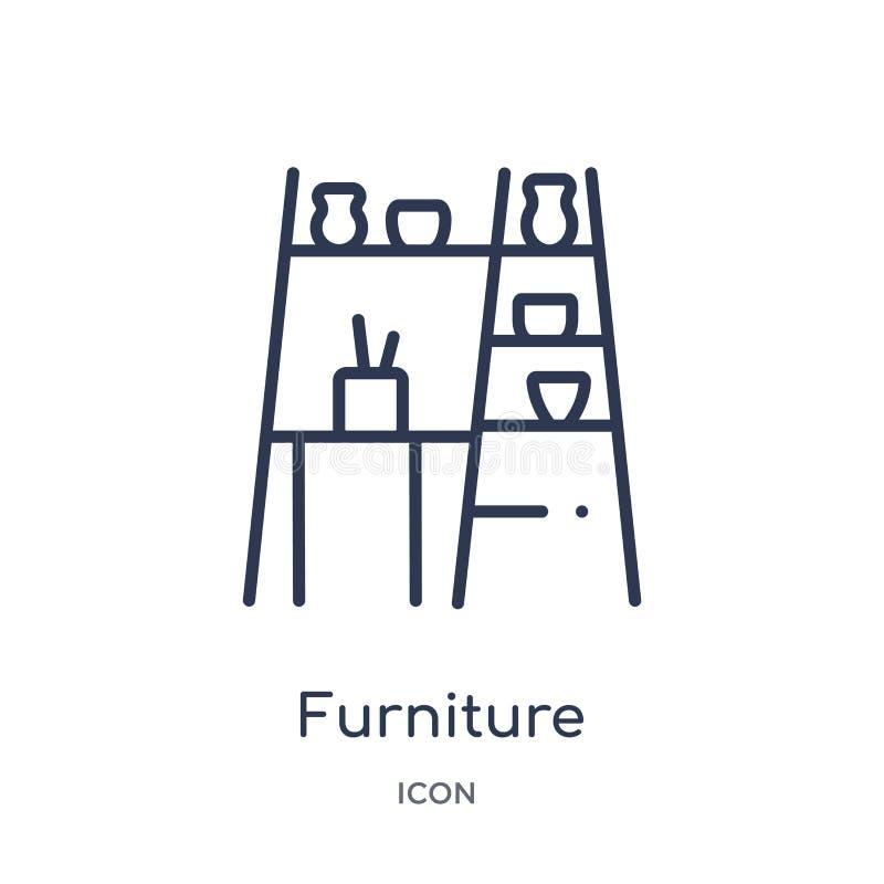 Liniowa meblarska ikona od Meblarskiej kontur kolekcji Cienieje kreskową meblarską ikonę odizolowywającą na białym tle meble modn ilustracji