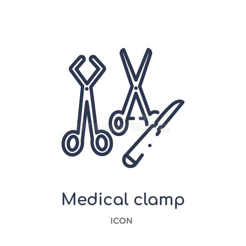 Liniowa medyczna kahat ikona od Medycznej kontur kolekcji Cienieje kreskową medyczną kahat ikonę odizolowywającą na białym tle me ilustracji