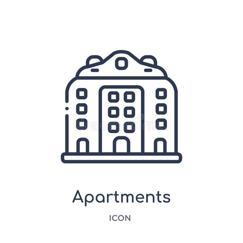 Liniowa mieszkanie ikona od architektury i podróż zarysowywamy kolekcję Cienieje kreskowego mieszkanie wektor odizolowywającego n ilustracji