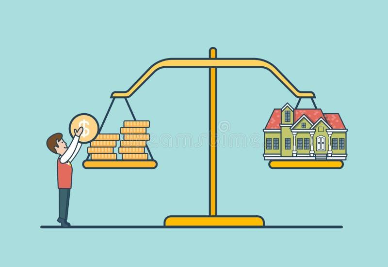 Liniowa mieszkanie monety domu skala, mężczyzna libra wektor Ponowny ilustracja wektor