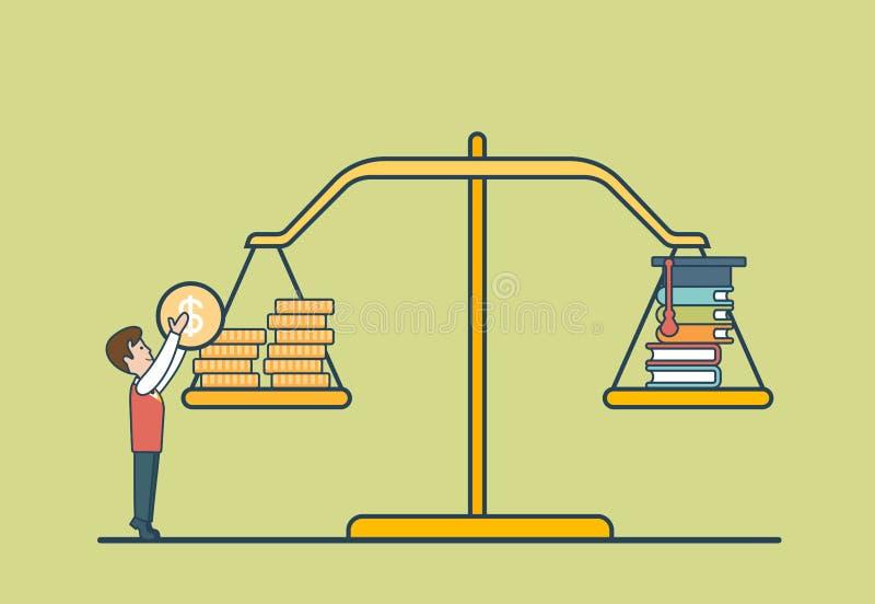 Liniowa mieszkanie monety książki skala, mężczyzna libra wektor ilustracji