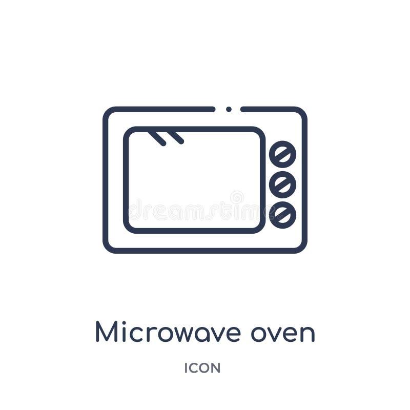 Liniowa mikrofala piekarnika ikona od Kuchennej kontur kolekcji Cienieje kreskową mikrofala piekarnika ikonę odizolowywającą na b ilustracji