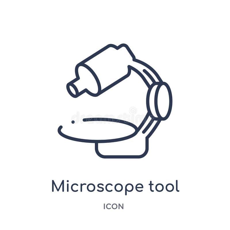Liniowa mikroskopu narzędzia ikona od Medycznej kontur kolekcji Cienka kreskowa mikroskopu narzędzia ikona odizolowywająca na bia ilustracja wektor