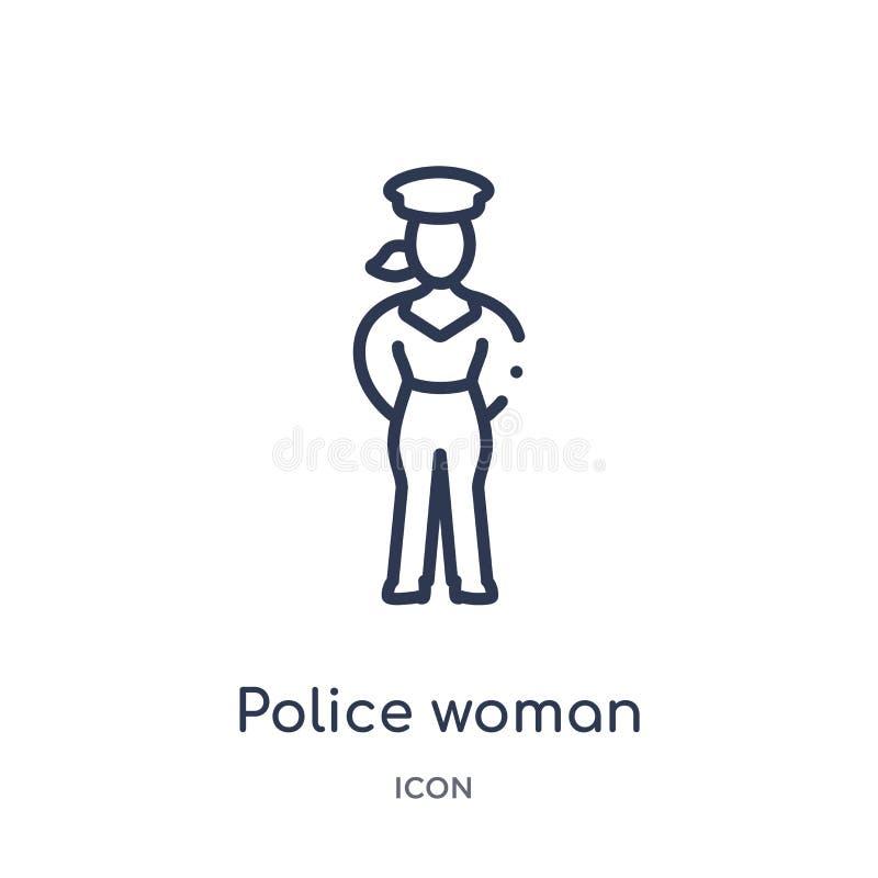 Liniowa milicyjna kobiety ikona od dam zarysowywa kolekcję Cienka linii policji kobiety ikona odizolowywająca na białym tle Milic ilustracja wektor